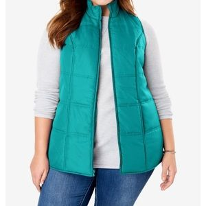☃️Quilted Vest Waterfall Green Size M 14/16❄️